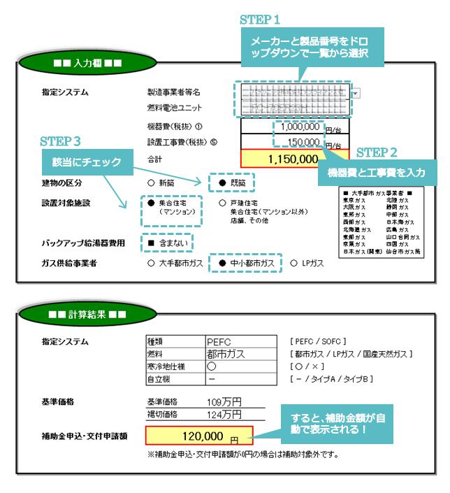 エネファーム補助金自動計算シート入力例