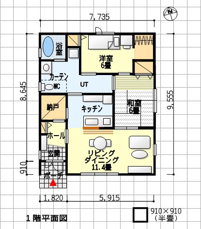 互いの気配が感じられる夫婦別寝室の平屋の間取り–南玄関、2LDK、21坪 1階平面図