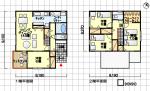 住みやすい家の間取り ウッドデッキ付 南玄関 4LDK 35坪の間取り図