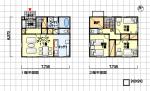 小さい長方形のコンパクトな間取り 北玄関 3LDK 30坪の間取り図