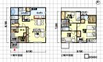 部屋数よりも機能重視の間取り図 シューズクローゼット、家事コーナー他 南玄関 3LDK 37坪