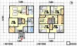 インナーテラスあり、部屋数重視の間取り - 東玄関、5LDK、37坪