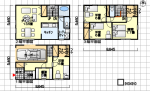 細長い家の間取り 3階建て 書斎、カーポート付 西玄関 4LDK 42坪の間取り図