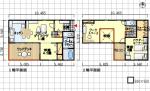 夫婦2人+1人向けの間取り、快適な寝室、ワークスペース、ウッドデッキ - 東玄関、3LDK、28坪
