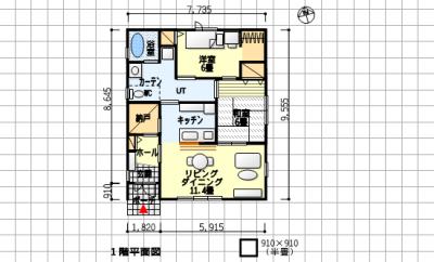 互いの気配が感じられる夫婦別寝室の平屋の間取り–南玄関、2LDK、21坪