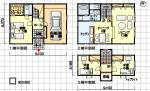 リビングに段差のある間取り 組み込み車庫付き 3階建て 南玄関 3LDK 44坪の間取り図