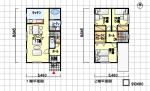 小さい間取り 間口が狭い2階建て 南玄関 3LDK 27坪の間取り図