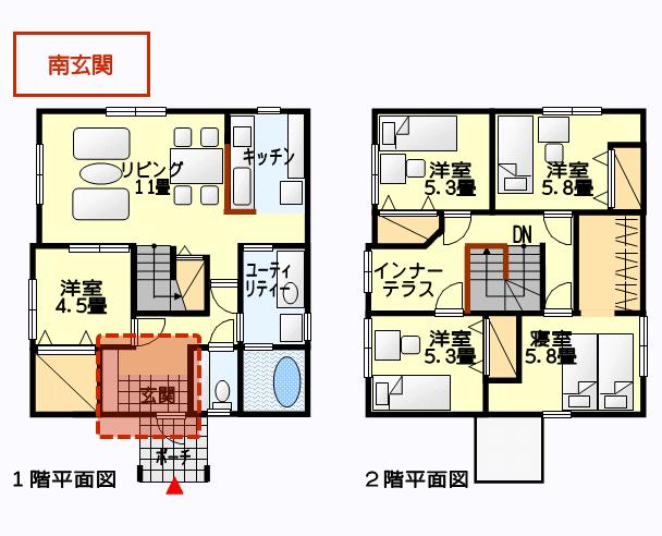 南玄関の間取り図