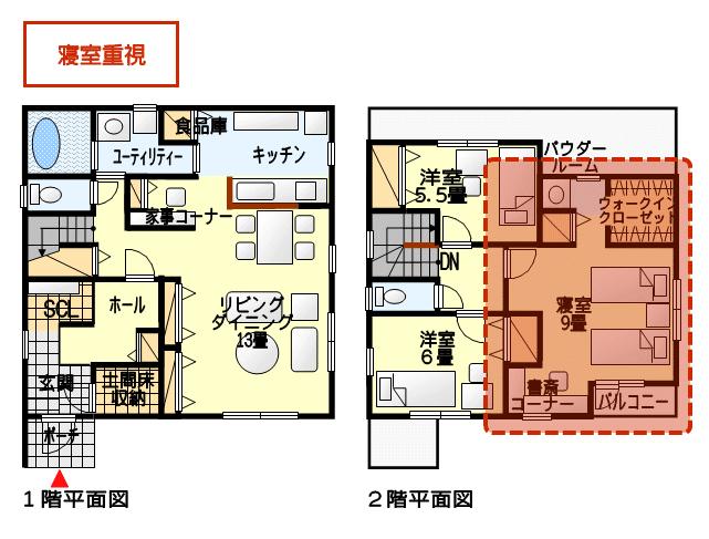 寝室を重視した間取り図