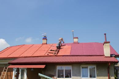 平屋の屋根塗装状況