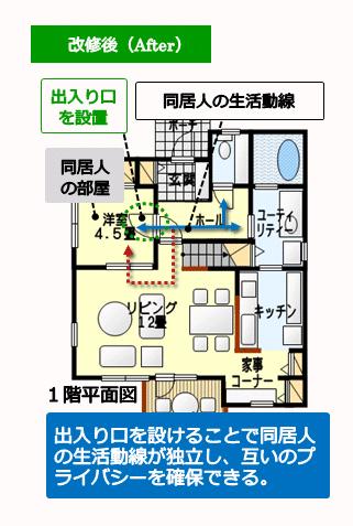 (改修後)出入り口を設けることで同居人の生活動線を独立させた間取り