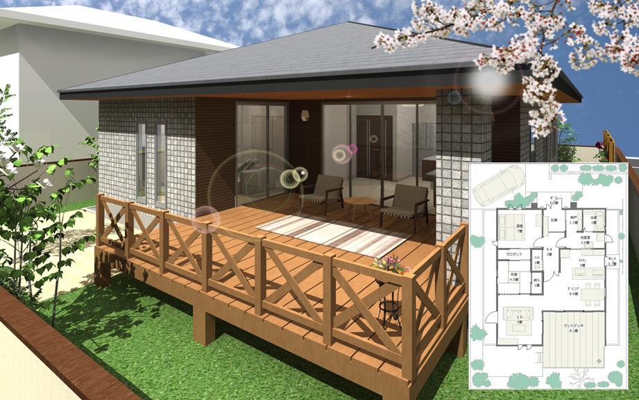 広いウッドデッキのある平屋建ての間取りと外観パース 24坪 2LDK