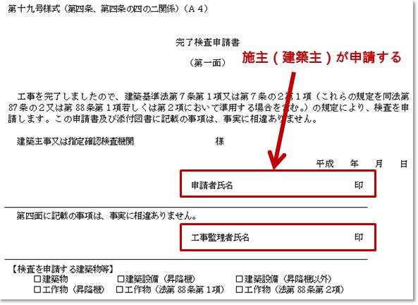 工事完了検査申請書(第一面)は施主(建築主)が申請する