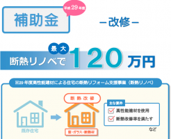 H29年度高性能建材による住宅の断熱リフォーム支援事業(断熱リノベ)で最大120万円