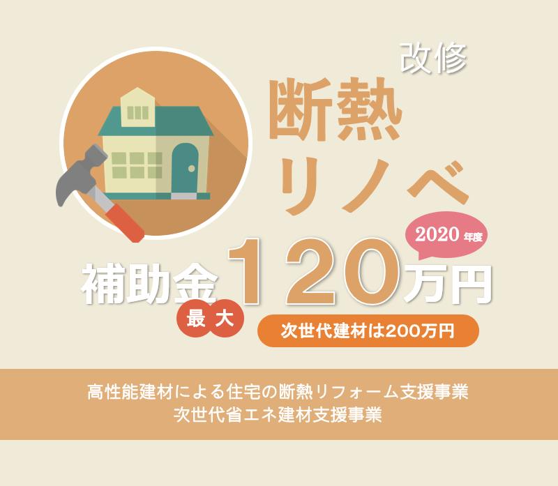 断熱リノベ 補助金120万円(次世代建材は200万円) 2020年度 高性能建材による住宅の断熱リフォーム支援事業の概要