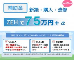 ZEHで75万円の補助金 平成29年度ネット・ゼロ・エネルギーハウス支援事業